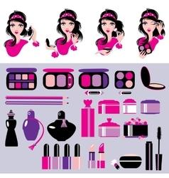 Cosmetics and makeup set Elements for make up vector image vector image