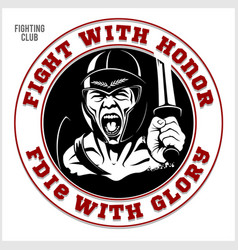 Gladiator logo with spear and shield vector