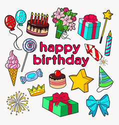 happy birthday party decoration set vector image