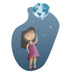 little girl with planet earth on blue background vector image vector image