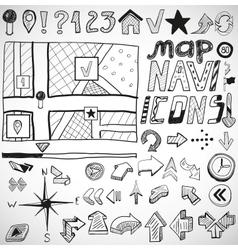 Navigation hand drawn doodles vector image vector image