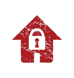 Red grunge lock house logo vector image vector image