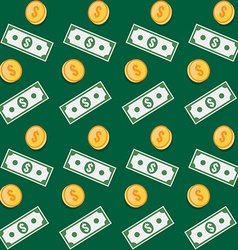 Seamless pattern Coin and paper money symbols vector image