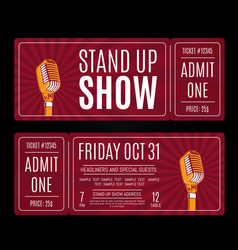 stand up show tickets with retro microphone vector image vector image