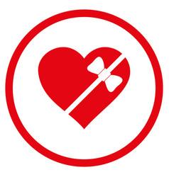 Tied love heart rounded icon vector