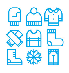 winter clothing icons vector image vector image