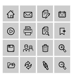 black web icons set on gray vector image