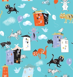 cats and houses vector image vector image