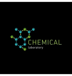 Chemical laboratory logo on a black background vector image vector image