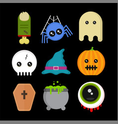 cute fun halloween icons set vector image
