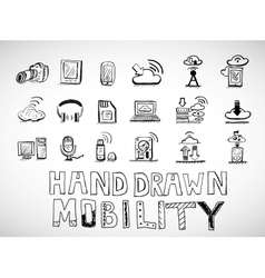Hand drawn mobility icons doodles vector image vector image