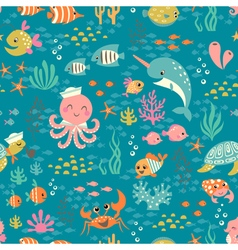 Happy underwater life pattern vector image