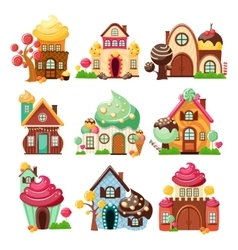 Candy houses icon set vector
