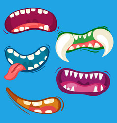 cartoon cute monster mouths set with different vector image