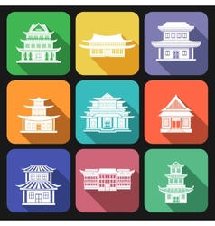 Chinese house icons flat vector image vector image