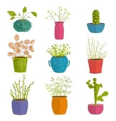 Set of green indoor plants in pots vector image vector image