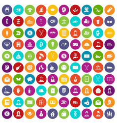 100 philanthropy icons set color vector