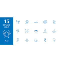 15 fly icons vector