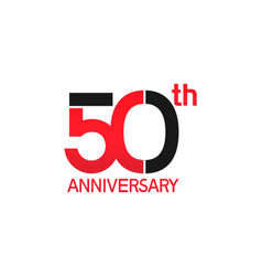 50 years anniversary logotype with black and red vector