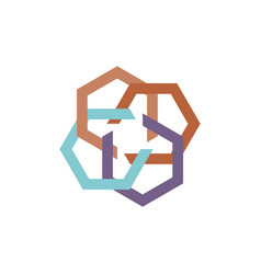 abstract hexagon logo vector image