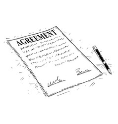 Artistic drawing of pen and agreement document to vector