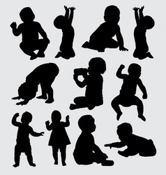 Babies action silhouette vector