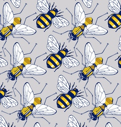 bee fly background pattern vector image