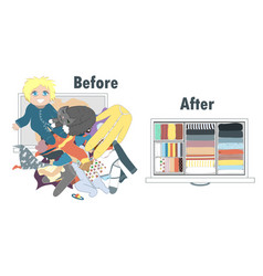 Before and after tidying up bakids wardrobe in vector