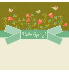 Bird and spring flowers vector