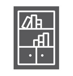 bookshelf glyph icon furniture and shelf vector image