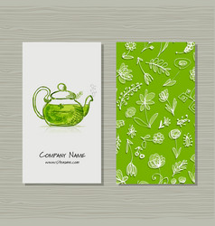 Business cards design herbal tea vector