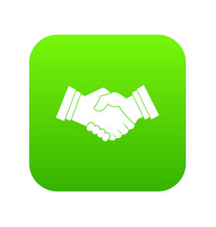 business handshake icon digital green vector image
