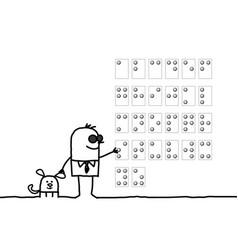 Cartoon blind man reading braille alphabet vector