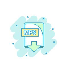cartoon colored mp3 file icon in comic style mp3 vector image