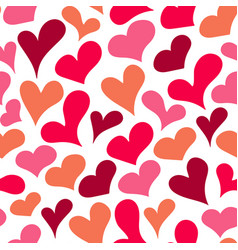 cartoon sketched heart seamless pattern vector image