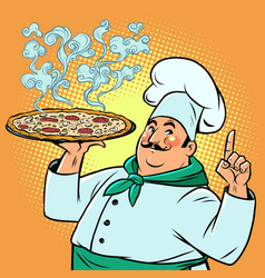 chef an italian restaurant with delicious pizza vector image