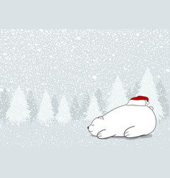 christmas card design of white bear vector image