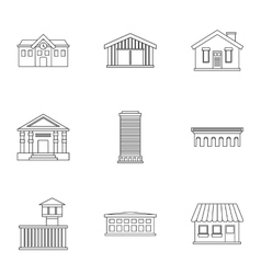 City public buildings icons set outline style vector