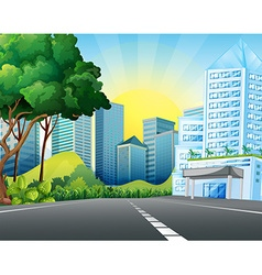 City scene with tall buildings vector image vector image