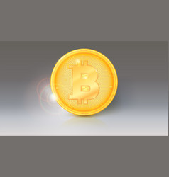 Coin of virtual currency bitcoin with sun glare vector
