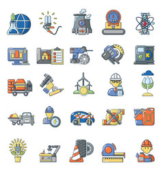 Combustible material icons set cartoon style vector
