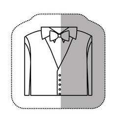 Contour sticker shirt with bow tie and waistcoat vector