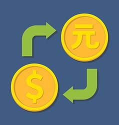 Currency exchange Dollar and Yuan vector image