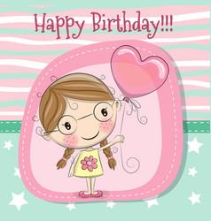cute cartoon girl with balloon vector image