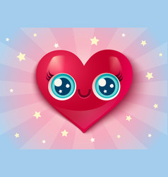 cute heart in kawaii style for valentines day vector image