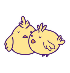 Cute little chickens bird animal icon vector
