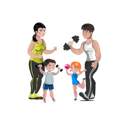 dad mother son and daughter lead a healthy vector image
