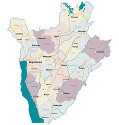Detailed map of burundi vector