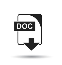 doc icon flat doc download sign symbol with vector image