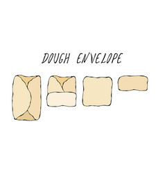 dough envelop pastry kitchen collection eps10 vector image
